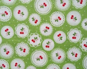 SEW CHERRY fabric cotton patchwork Doily green x50cm