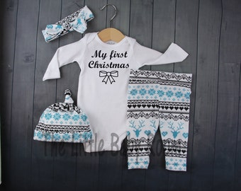Baby Girls Christmas Set,My First Christmas,Personalized Onesie,Legging and Headband,Girl Hat,Unisex,Boys Blue,Deer,Girl Coming Home Outfit