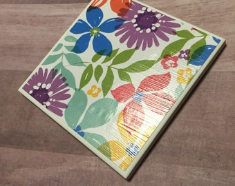 Floral ceramic coasters - set of 4