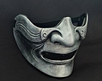Half cover  Knight Samurai Mask, Airsoft mask, Halloween Costume Cosplay mask, Evil Oni Hannya Kabuki mask, Steampunk wall mask MA215