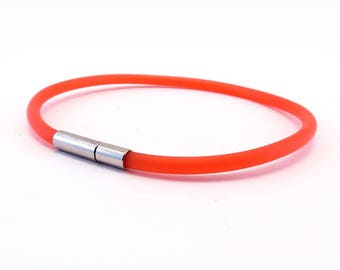 Red transparent flexible rubber bracelet