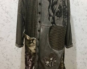 Gypsy Clothing, Plus Size Upcycled Clothing, 2XL Boho Tunic, Gypsy Dress, Upcyled Recycled Repurposed Clothing, Recycled Top Tunic Dresses