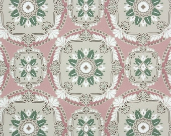 1940s Vintage Wallpaper by the Yard - Gray Pink Green and White Geometric