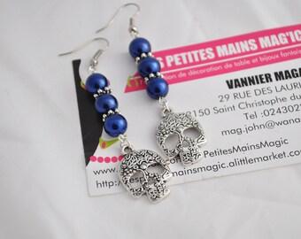 original skull and dark blue pearl earrings