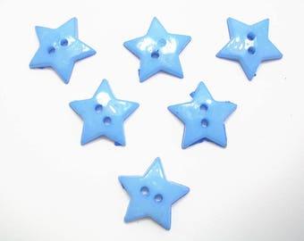 LOT 6 buttons: Star Blue 12mm