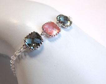 Glass Bracelet, Gray Bracelet, Coral Bracelet, Peach, Sterling Silver, Wedding Jewelry, Bridal, Bridesmaids Bracelet, Bridesmaid Gifts