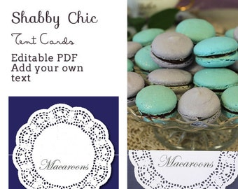 Shabby Chic Tent Cards - editable PDF - add your own text