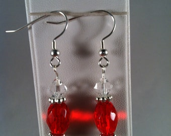 Red Beaded Earrings - Affordable Jewelry - Gift for Her - Beaded Jewelry - Dangle Earrings -  Handcrafted - Handmade - Gift under 10