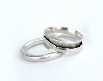 Silver Band Rings For Women, Silver Wedding Band, Silver Band Ring Man, Spinner Ring, Unisex ring, Hammered Ring, Sterling Silver Band