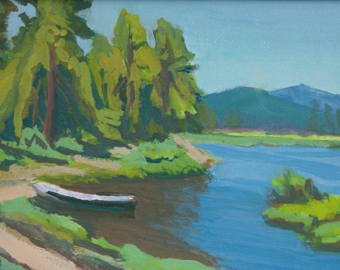 East Davis Lake CG Summer Greens Original Oregon Landscape 8x12 inches Matted