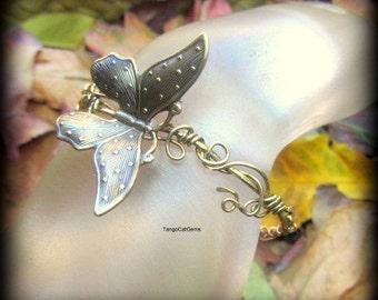 Butterfly Bracelet Wire Wrap Statement Bracelet  Organic Woodland