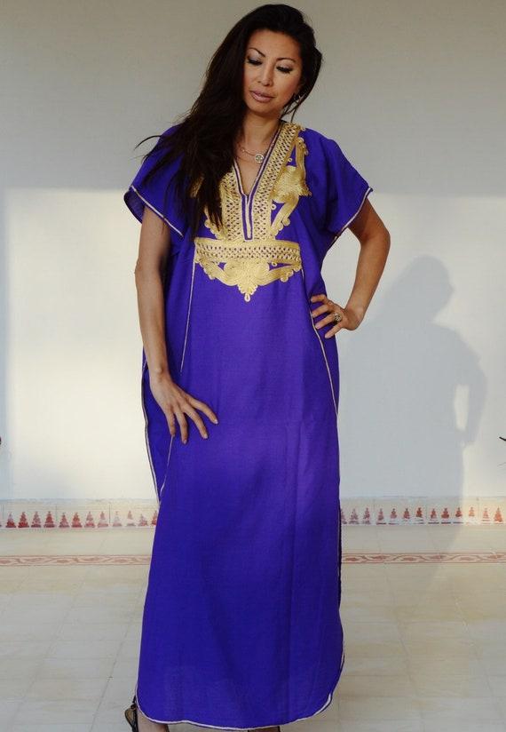 Kaftan Blue Purple with Gold  Marrakech Resort Caftan Kaftan ,beach cover ups, resortwear,loungewear, maxi dresses, birthdays gift