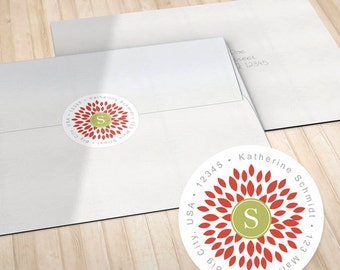Personalized Return Address Labels // Envelope Seals // Red Blooming Blossom with Monogram // S100