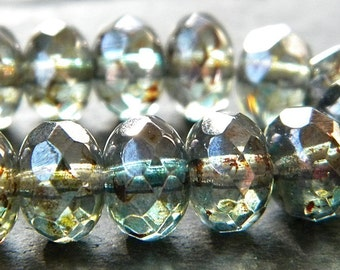Czech Glass Beads 9 x 6mm Faceted Picasso Ivy Green Rondelles - 12 Pieces