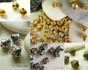 25 beads in metal color choice 7x6mm