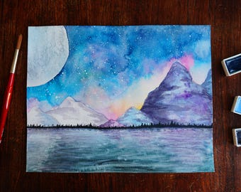 Moon and Mountains - Original Watercolor Painting (Fantasy Landscape Nature Wall Art)