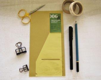 Genuine Traveler's Notebook Insert, Adhesive plastic side pocket (006) Midori- Regular Size, Traveler's Company, Travel Journal