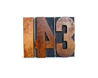 143 . wooden letter blocks . i love you .  wood number . 1 4 3 wooden numbers . letterpress blocks . printers block . lot#4