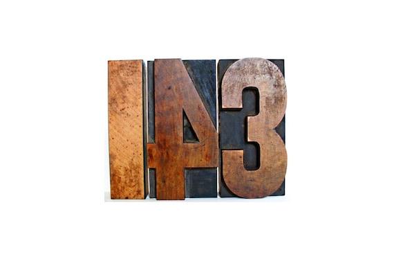 143 . wooden letter blocks . i love you . wood number . 1 4 3