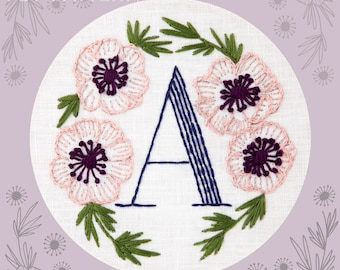 Monogram Flower PDF Pattern - A is for Anemone