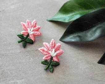 pink flower stud earrings   MAGNOLIA   stud earrings, everyday jewelry, embroidered flower, wedding, small earrings, summer earrings, boho