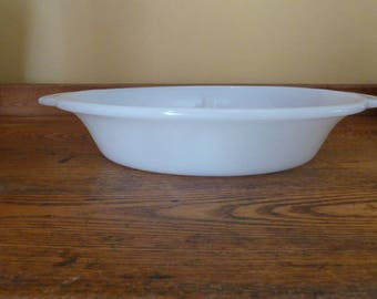 Vintage Fire King Divided Dish #468 Milk Glass Bakeware