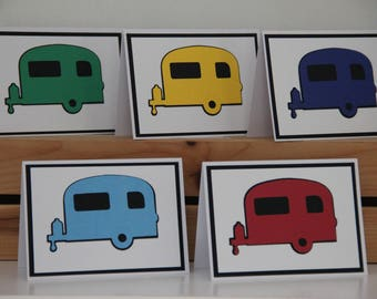 5 Camper Cards.  RV Card Set.  Blank Camping Cards.  Vintage Camper Greeting Card. Camping Vacation. Camper Party Invitations