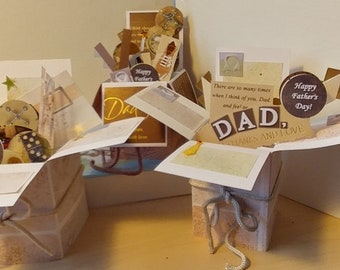 Father's Day Greeting - 4 Variations - exploding pop-up box card - Free shipping in USA