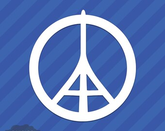 Peace For Paris Eiffel Tower Vinyl Decal Sticker