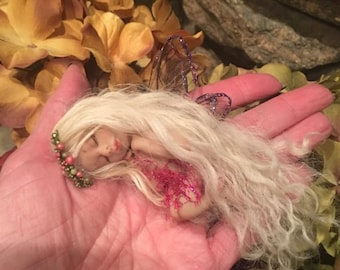 Fairy, Tiny Fairy, Fairies, Sleeping Fairy, Fairy Doll, Fairy Sculpture, Ooak Fairy, Fairy Garden, Gif, Gift for Mom, Gift for Her