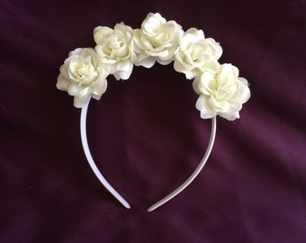 White rose flower crown headband