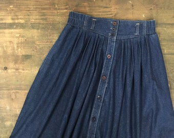 Long Denim Skirt with Front Button Detail