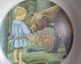 Children 2 plates Elsa Beskow Fairy tales motifs Melamin Deep plate and Dinner plate Swedish Mid Century Modern