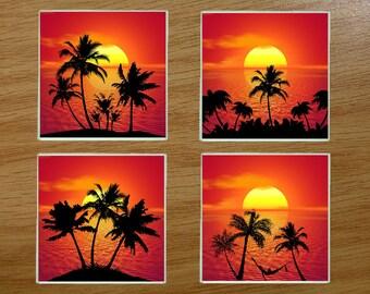 Glass coasters,Coasters, Boxed coaster set, Sunset,  (Set2)