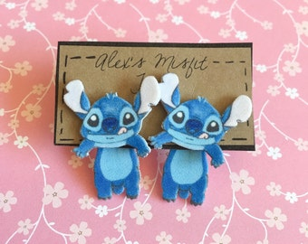 Cute Stitch Alien Faux Gauge Clinging Earrings