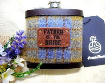 Rustic wedding Father of the Bride gift Harris Tweed hip flask  choice of colours rural or woodland wedding leather trimmed