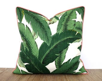 Green outdoor pillow case swaying palm leaf, tropical pillow cover Beverly Hills decor, green palm leaf cushion green and soft pink decor