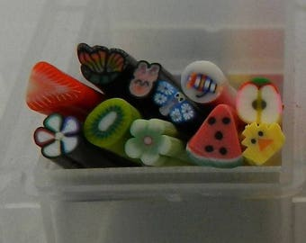 lot 11 Canes varied fimo G 5 * 0.5 cm for scrapbooking