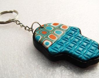Hamsa Hand Keychain, Polymer Clay Keychain, Handmade, Hamsa Hand, Israel, Talisman, Good Luck, Gustav Klimt, Aqua Keychain, bridesmaid gifts