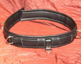 Premium leather bond age belt, genuine leather, soft padded, floating asbschießbar, extra length: 1, 20 m!