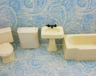 Renwal Sink  Tub Hamper  and Toilet  Doll House Toy Bathroom Hard Plastic Off White MCM