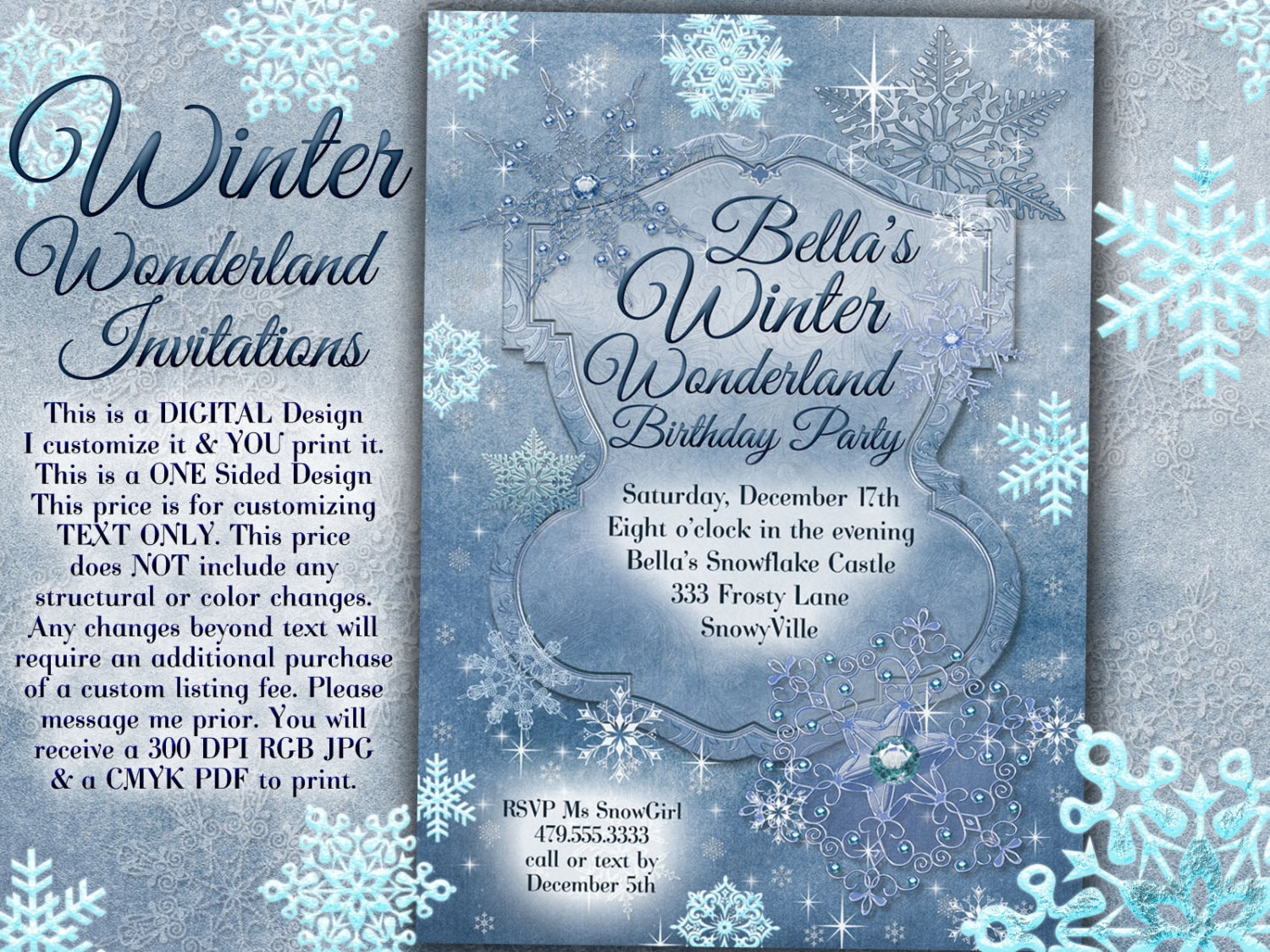 Party Invitations Blue Silver Snowflake blank invitations holiday