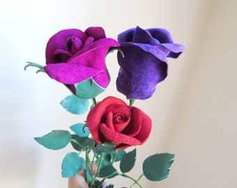 3rd Anniversary Gift -Leather suede flowers -Red,Purple magenta leather rose bud bouquet -sexy long Stem leather rose