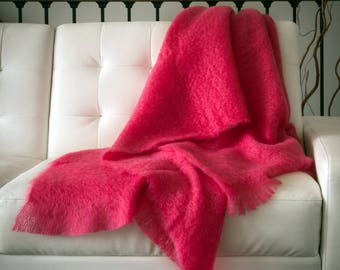 Home-and-living | Pink blanket | pink wool blanket | Gift for her 30 - Gift for her birthday - Gift for mom and dad - Gift for mom birthday