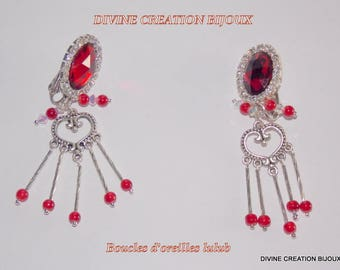 Red clip earrings
