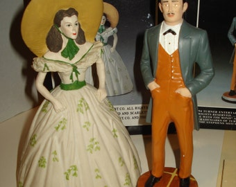 """REDUCED- 2 Gone With the Wind - Grossman Figurines 1994-5 approx 6""""-8"""" tall Scarlett and Rhett Butler COA"""