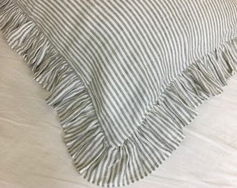 Grey and White Striped Ruffle Euro Sham Covers, Natural Linen Ruffle Sham Cover, Classic Stripe with Luxury Ruffles! All sizes available!