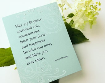 Irish Blessing Wedding Card - Handmade Card -  white, blue, swirls, sparkle