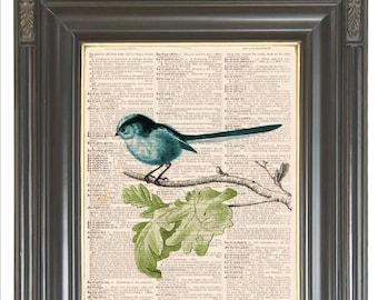 Aqua blue bird wall art print on dictionary or music page Dictionary art print Sheet music Digital print Wall decor No. 525