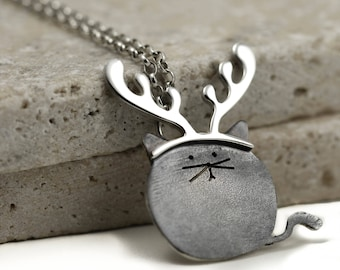 Reindeer Cat Necklace - Christmas Cat Necklace - Sterling Silver Cat - Cat Lover Gift